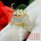 Ladies Womens Bridal Engagement Wedding Ring 14K Yellow Gold Over Real Silver