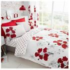 Luxury Bedding Set Red Floral Printed Quilt Duvet Cover Pillow Covers Reversible