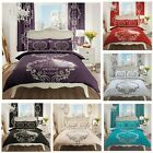 Modern Script Printed Quilt Duvet Cover Bedding Set With Pillow Cases Reversible