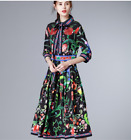 Occident spring new popular flowers printing set auger sequins lapel dress SMLXL