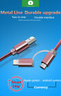 2 in 1 Lightning Cable Micro USB-C Metal Charger For IPhone Samsung Universal