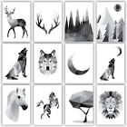 Art PRINT GEOMETRIC ANIMAL FOREST collection MONOCHROME Poster Wall Decor