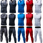 Mens Compression Top 3/4 Pants Athletic Base Layers Dri fit Vests Wicking Tights