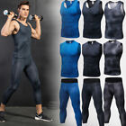 Men's Compression Vests 3/4 Tights Athletic Base Layers Gym Workout Sportswear