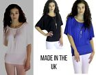 WOMEN'S LADIES CASUAL TOP IN BLACK , WHITE & BLUE WITH BACK LACE NEW