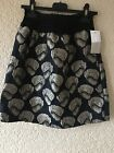 AJJ Design Girls Skirt Ages 12 & 14 Years Navy Blue With Silver Floral Pattern