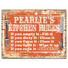 PPKR0782 PEARLIE'S KITCHEN RULES Chic Sign Funny Kitchen Decor Birthday Gift