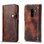 Genuine Leather Flip Wallet Card Slots Case Cover for Samsung Galaxy S9/S9+ Plus