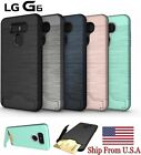 For LG G6 Hybrid Shockproof Card Slot & Kickstand Armor Protective Case Cover US