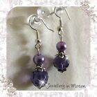 Petite Purple Crystal & Glass Pearl Earrings. ~ Pierced Or Clip-On