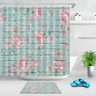 Rose Floral Blue Brick Fabric Shower Curtain Set Waterproof Bathroom Accessories