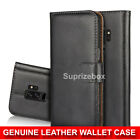 Real Genuine Leather Flip Wallet Slim Case Cover For Samsung Galaxy S9 S9 Plus