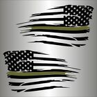 American Flag Thin Green Line Distressed Military USA Decal Sticker Ford Chevy