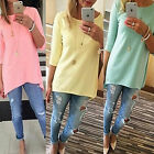 Womens Crew Neck Pullover Long Tunic Tops Casual 3/4 Sleeve Solid Blouse T Shirt