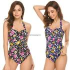 Women Sexy Halter Padded Backless Floral Open Front One Piece Swimwear FF