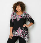 AVENUE Paisley Flower Sharkbite Top Womens Plus Size