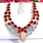 "Enticing Mozambiqe Garnet Gemstone .925 Silver Jewelry Necklace 18"" P6509"