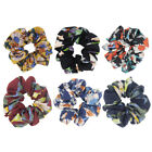 Set of 6 Fashion Flower Print Chiffon Hair Scrunchies Ponytail Holder for Women