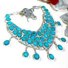"ENTICING BLUE TURQUOISE GEMSTONE HANDMADE NECKLCE 18"" S652"