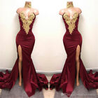 Long Evening Formal Party Dress Prom Ball Gown Bridesmaid Dresses Burgundy