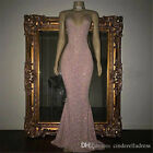 Long Evening Formal Party Dress Prom Ball Gown Bridesmaid Dresses Sequin Pink