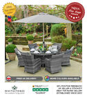 Nova Lyon 6 Seat Outdoor Garden Furniture 1.35m Round Rattan Patio Dining Set