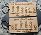 PERSONALISED FATHERS DAY GIFT BIRTHDAY KEYRING FAMILY PORTRAIT DADDY DAD GRANDAD