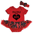 Mother's Day Mama Is My Bestie Red Cotton Bodysuit Black Rose Baby Dress NB-18M