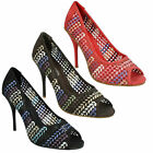 F1R926 LADIES SPOT ON STILETTO HIGH HEEL PEEP TOE WOVEN COURT SHOES