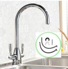 Chrome Kitchen Mono Sink Tap Luxury Designer Modern Mixer Twin Dual Lever Swivel