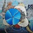 24X24 Mixed Media Coral Reef Tentacle Blue and Gold Painting on Canvas Vazzino