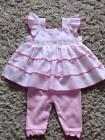 BABY GIRLS STUNNING PINK POLKA DOT 2 PIECE DRESS & LEGGINGS SET 0-3 3-6 6-9