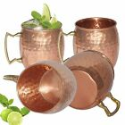 4 Moscow Mule Mug Cup Drinking Hammered Copper Brass Steel Gift Set,18 Oz New