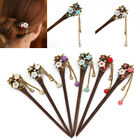 Classical Carved Women Wooden Hair Stick Hairpin Crystal Rhinestone Hair Stick