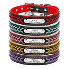 Braided Leather Personalized Dog Collar Custom ID Name Phone Free Engraved XS-L