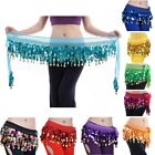 Women Belly Dance Belt Hip Scarf Waist Double Coin Chiffon Dancewear One Size