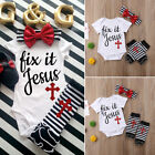 Newborn Baby Girls Cross Print Romper+Leg Warmers Headband Outfits Clothes Set