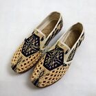 Ethnic Mens Straw Knitted Flats Floral Linen Loafers Pumps Sandals Shoes Breath