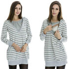 New Fashion Mom Striped Unlined Uppe Lactation Grey Clothes Out Maternity Dress