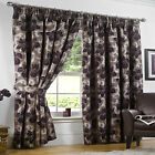 """Heavy Thick CHENILLE Curtains AUBERGINE PURPLE BEIGE 90x108"""" Extra WIDE Ex LONG"""