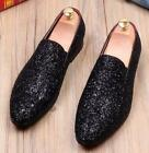 Mens Bling Casual Shoes Sequin Dress Formal Shoes Slip on Loafers Silver Sequin