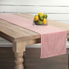 Red and Cream Ticking Stripe 100% Cotton Table Runner. Choice of 2 Sizes.