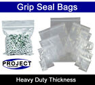 Heavy Duty Grip Seal Food Bags Plastic Plain Strong Clear Large Variety of Sizes