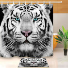 White Siberian Tiger Fabric Shower Curtain Set 180/200CM Extra Long Curtsins