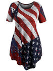 Women Plus Size American Flag Patriotic T-shirt Short Sleeve Longline T-shirt