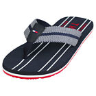 Tommy Hilfiger Stripes Print Th Beach Sandal Mens Navy Red Blue Flip Flops