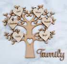 Wooden MDF Family Tree Shape Heart cut out & Personalised Hearts & Family sign