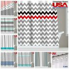 Zigzag Stripes Chevron Triangle Polyester Fabric Bathroom Shower Curtain Set