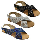LADIES WOMENS DIAMANTE FLAT SUMMER BEACH HOLIDAY SANDALS SIZES 3,4,5,6,7,8