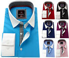 RICHBERRY Men's Shirts Striped cotton Contrast collar Formal Casual Long sleeves